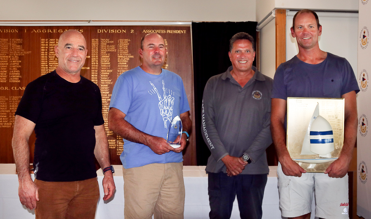 Magpie - winners of the 2019 Etchells Victorian State Championship - Graeme Taylor, James Mayo and Richie Allanson, with RGYC�s Captain, Roger Bennett