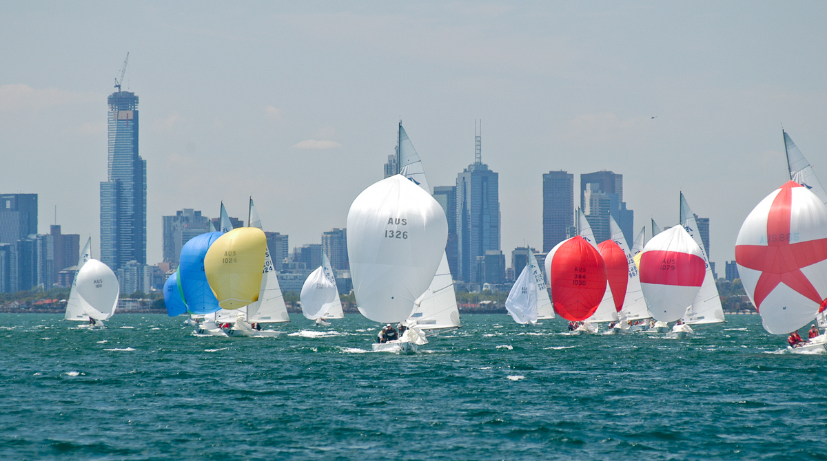 Large fleet of Etchells heads downwind with Melbourne�s CBD behind them